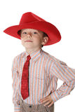 Boy in a tie and a cowboy's hat Royalty Free Stock Image