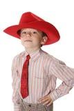 Boy in a tie and a cowboy's hat. The boy in a tie and a cowboy's hat on a white background Royalty Free Stock Image