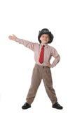 The boy in a tie and a cowboy's hat. On a white background Stock Image