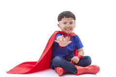 Boy to be a superhero Stock Images