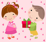 Boy to send a gift to a little girl. A little boy to send a gift to a little girl Royalty Free Stock Photo