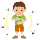 Boy to spray insect repellent Royalty Free Stock Photos