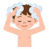 Boy to wash the hair with shampoo. Vector illustration.Original paintings and drawing royalty free illustration