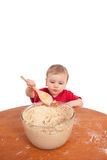 Boy toddler child making cake in kitchen Royalty Free Stock Photography