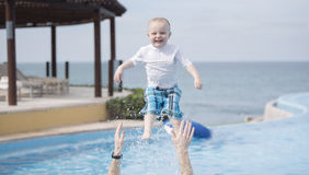 Boy Toddler Playing at Pool in Punta Mita, Mexico Stock Image