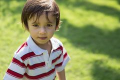 Boy toddler smiling in the park stock photo