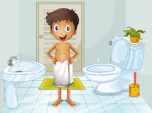 A boy in the toilet Royalty Free Stock Images