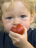Boy with tomato Stock Images