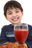 Boy with Tomato Juice Stock Photography