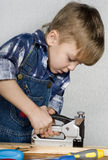 Boy with tools Stock Photo