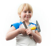 Boy with tools Royalty Free Stock Photo