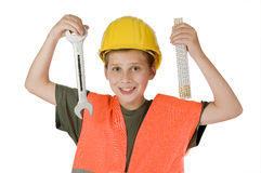 Boy with tools on white Stock Photography
