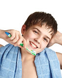 The boy with a tooth-brush. royalty free stock image