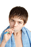 The boy with a tooth-brush. Royalty Free Stock Images