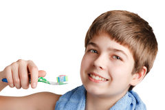 The boy with a tooth-brush. Stock Photos