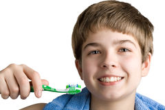 The boy with a tooth-brush. Royalty Free Stock Photos