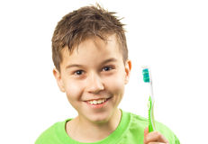 Boy with toothbrush Royalty Free Stock Image