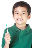 Boy and toothbrush Royalty Free Stock Images