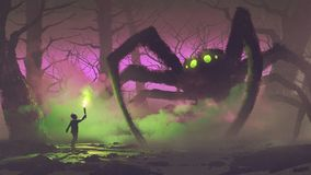 The boy with a torch facing giant spider. Dark fantasy concept showing the boy with a torch facing giant spider in mysterious forest, digital art style Royalty Free Stock Photo