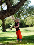 Boy touching a tree. Fair haired boy is touching a tree in the garden Royalty Free Stock Image