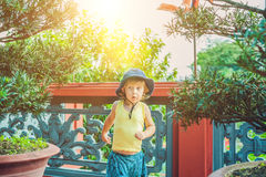 Boy tourist in Buddhist temple in Vietnam Nha Trang Royalty Free Stock Photo