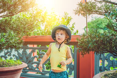 Boy tourist in Buddhist temple in Vietnam Nha Trang Royalty Free Stock Images