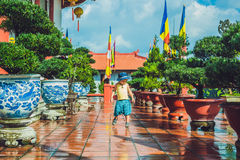 Boy tourist in Buddhist temple in Vietnam Nha Trang Royalty Free Stock Photos