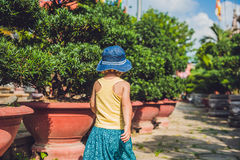Boy tourist in Buddhist temple in Vietnam Nha Trang Stock Image