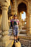 Boy tourist in front of Cenotaphs of Bada Bagh, King's memorials Stock Photo