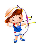 Boy with a toy. Bow and arrow top Stock Images