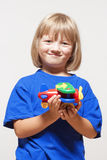 Boy with toy airplane Royalty Free Stock Images