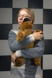 Boy with toy-bear Stock Image