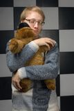 Boy with toy-bear Stock Images