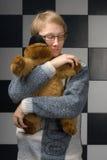 Boy with toy-bear Stock Photos