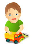 A boy with a toy car Royalty Free Stock Images