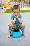 Boy with a toy car Royalty Free Stock Photography