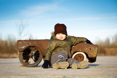 Boy and toy car Royalty Free Stock Photo