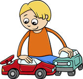 Boy with toy cars cartoon Stock Photography
