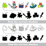 Boy toy collection. Find correct shadow. Boy toy set with shadows to find the correct one. Compare and connect objects Royalty Free Stock Photography