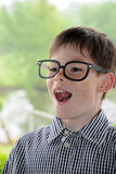 Boy with toy glasses Stock Photography