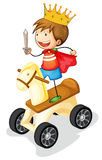 Boy on toy horse. Illustration of a boy on toy horse on white background Stock Photography