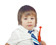Boy with toy isolated Royalty Free Stock Photography