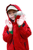 Boy with toy lambkin Stock Photos
