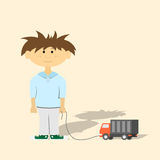 Boy with toy. Picture of a young boy with toy car, flat style illustration Royalty Free Stock Images