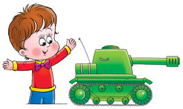 Boy with Toy Tank Illustration Royalty Free Stock Photo