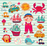 Boy and toys. Set of cartoon stickers: boy and toys Royalty Free Stock Photo