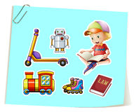 Boy and toys Stock Image