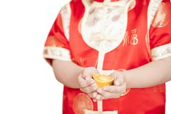 Boy In Tradition Chinese Cheongsam Isolated On White Background. Stock Photo