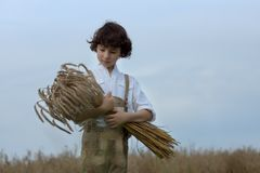 A boy in traditional Bavarian clothes stands in the field. A boy in traditional Bavarian clothes stands in the field and holds a sheaf of rye in his hands Royalty Free Stock Photos