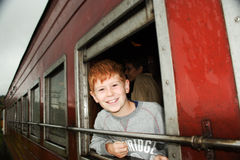 Boy in the train Stock Photos